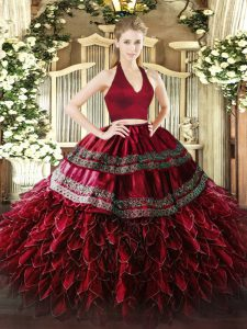 Wine Red Sleeveless Appliques and Ruffles Floor Length Quinceanera Gowns