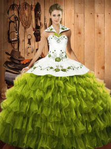 Vintage Olive Green Sleeveless Embroidery and Ruffled Layers Floor Length Quince Ball Gowns