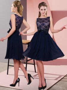 Simple Scoop Sleeveless Chiffon Homecoming Dress Lace and Bowknot Side Zipper