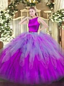 Multi-color Clasp Handle Scoop Ruffles 15 Quinceanera Dress Organza Sleeveless