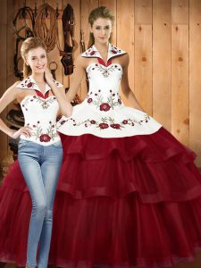 Modest Wine Red Two Pieces Embroidery and Ruffled Layers 15 Quinceanera Dress Lace Up Satin and Organza Sleeveless With Train
