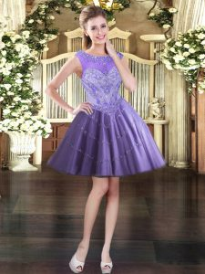 Tulle Scoop Sleeveless Lace Up Beading Evening Dress in Lavender