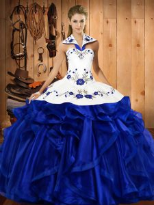 Sumptuous Royal Blue Sleeveless Satin and Organza Lace Up Sweet 16 Dresses for Military Ball and Sweet 16 and Quinceanera
