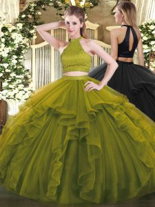 Olive Green Sleeveless Organza Backless Quinceanera Dresses for Military Ball and Sweet 16 and Quinceanera