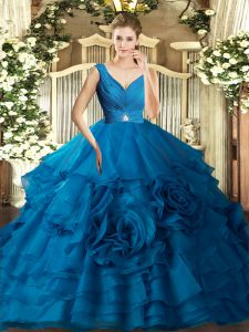 Fantastic Blue Ball Gowns Organza V-neck Sleeveless Beading and Ruffles Floor Length Backless Quinceanera Gown