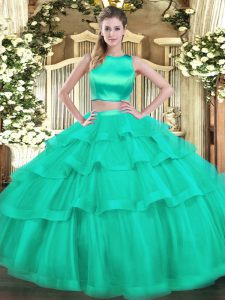 Flare Turquoise Two Pieces Tulle High-neck Sleeveless Ruffled Layers Floor Length Criss Cross Vestidos de Quinceanera