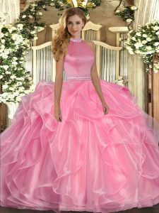 Elegant Watermelon Red Backless Sweet 16 Dresses Beading and Ruffles Sleeveless Floor Length
