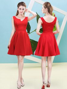 Sophisticated Ruching Court Dresses for Sweet 16 Red Zipper Sleeveless Mini Length