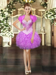 Lovely Sweetheart Sleeveless Organza Homecoming Dress Beading and Ruffles Lace Up