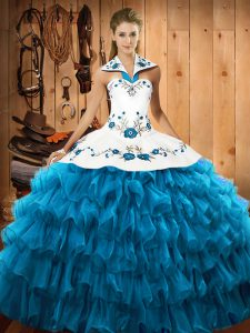 Floor Length Lace Up Sweet 16 Dresses Teal for Military Ball and Sweet 16 and Quinceanera with Embroidery and Ruffled Layers