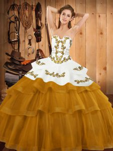 Gold Sleeveless Embroidery and Ruffled Layers Lace Up 15 Quinceanera Dress