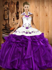 Sleeveless Floor Length Embroidery and Ruffles Lace Up Quinceanera Dress with Purple