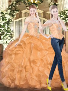 Two Pieces Quinceanera Dress Orange Red Off The Shoulder Organza Sleeveless Floor Length Lace Up