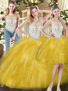 Yellow Three Pieces Organza Scoop Sleeveless Beading and Ruffles Floor Length Zipper Sweet 16 Dress