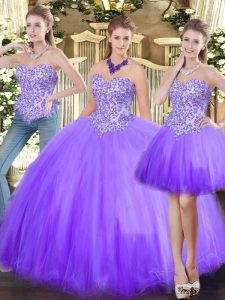 Suitable Lavender Sleeveless Tulle Lace Up Sweet 16 Quinceanera Dress for Military Ball and Sweet 16 and Quinceanera
