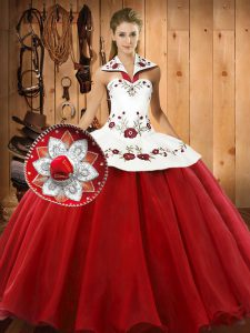 Suitable Wine Red Sweet 16 Dress Military Ball and Sweet 16 and Quinceanera with Embroidery Halter Top Sleeveless Lace Up