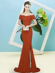 Sexy Rust Red Prom Evening Gown Off The Shoulder Short Sleeves Sweep Train Zipper