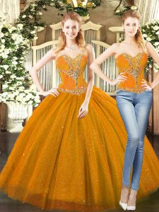 Stylish Orange Red Sleeveless Floor Length Beading Lace Up Quinceanera Gowns