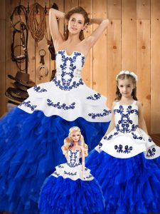 New Style Royal Blue Sweet 16 Quinceanera Dress Military Ball and Sweet 16 and Quinceanera with Embroidery and Ruffles Strapless Sleeveless Lace Up