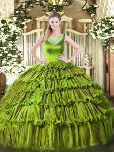 Excellent Sleeveless Beading and Ruffled Layers Side Zipper 15th Birthday Dress