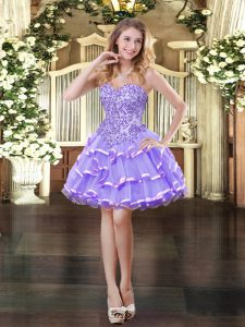 Organza Sleeveless Mini Length Prom Evening Gown and Appliques and Ruffled Layers