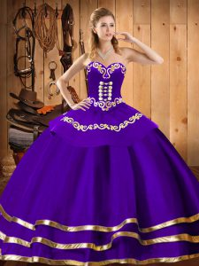 Purple Sleeveless Floor Length Embroidery Lace Up Quinceanera Gowns