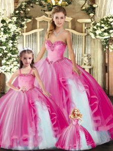 Best Fuchsia Sleeveless Beading and Ruffles Floor Length Quinceanera Gown