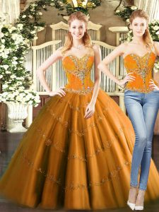 Pretty Mini Length Two Pieces Sleeveless Orange Red Ball Gown Prom Dress Lace Up