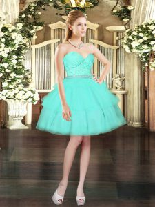 Aqua Blue Lace Up Sweetheart Beading and Lace and Ruffled Layers Prom Dress Tulle Sleeveless