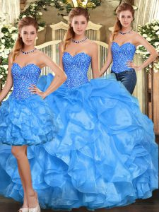 Floor Length Three Pieces Sleeveless Baby Blue Quinceanera Gown Lace Up