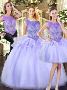 Glorious Lavender Zipper Scoop Beading Quinceanera Dresses Organza Sleeveless