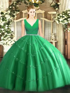 Traditional Sleeveless Beading Zipper Quinceanera Dresses