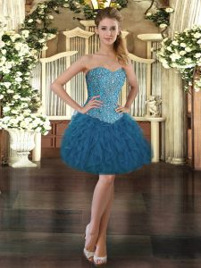 Luxurious Mini Length Blue Prom Party Dress Tulle Sleeveless Beading and Ruffles
