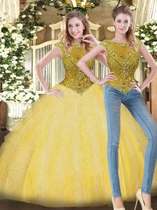 Extravagant Yellow Sleeveless Beading and Ruffles Floor Length Quince Ball Gowns