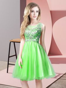 Extravagant Sleeveless Zipper Knee Length Beading Prom Gown