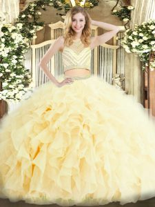 Light Yellow Two Pieces Tulle Scoop Sleeveless Beading and Ruffles Floor Length Zipper Quinceanera Dresses