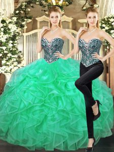 High Quality Turquoise Ball Gowns Tulle Sweetheart Sleeveless Beading and Ruffles Floor Length Lace Up 15 Quinceanera Dress