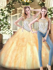 Gold Two Pieces Scoop Sleeveless Organza Floor Length Zipper Beading and Ruffles Sweet 16 Dresses