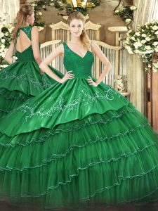 Fantastic Floor Length Ball Gowns Sleeveless Dark Green Quinceanera Gown Backless