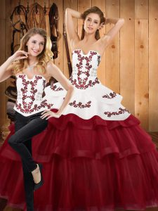 Trendy Burgundy Satin and Organza Lace Up Ball Gown Prom Dress Sleeveless With Train Sweep Train Embroidery and Ruffled Layers