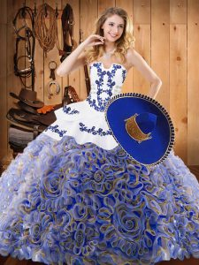 Customized Sweep Train Ball Gowns Vestidos de Quinceanera Multi-color Strapless Satin and Fabric With Rolling Flowers Sleeveless With Train Lace Up