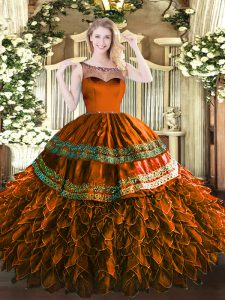 Best Sleeveless Organza and Taffeta Floor Length Zipper Sweet 16 Quinceanera Dress in Rust Red with Beading and Appliques and Ruffles