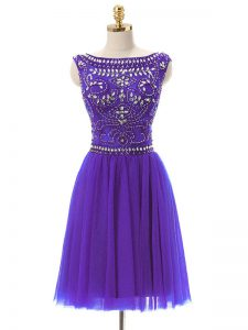 Customized Bateau Sleeveless Evening Dress Mini Length Beading Purple Tulle