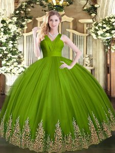 Deluxe Olive Green Zipper V-neck Appliques 15 Quinceanera Dress Tulle Sleeveless