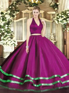 Fuchsia Zipper Quinceanera Dresses Ruffled Layers Sleeveless Floor Length