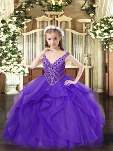 Stylish Eggplant Purple Ball Gowns Beading and Ruffles Winning Pageant Gowns Zipper Tulle Sleeveless Floor Length