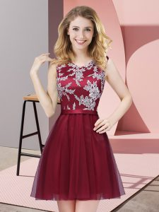 Low Price Burgundy Side Zipper Scoop Lace Dama Dress Tulle Sleeveless