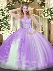 Traditional Lavender Organza Backless Quinceanera Gowns Sleeveless Floor Length Lace and Ruffles