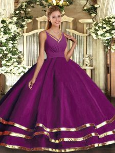 Purple Sweet 16 Dress Military Ball and Sweet 16 and Quinceanera with Ruching V-neck Sleeveless Backless