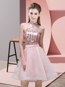 Exquisite Halter Top Sleeveless Court Dresses for Sweet 16 Mini Length Sequins Pink Chiffon
